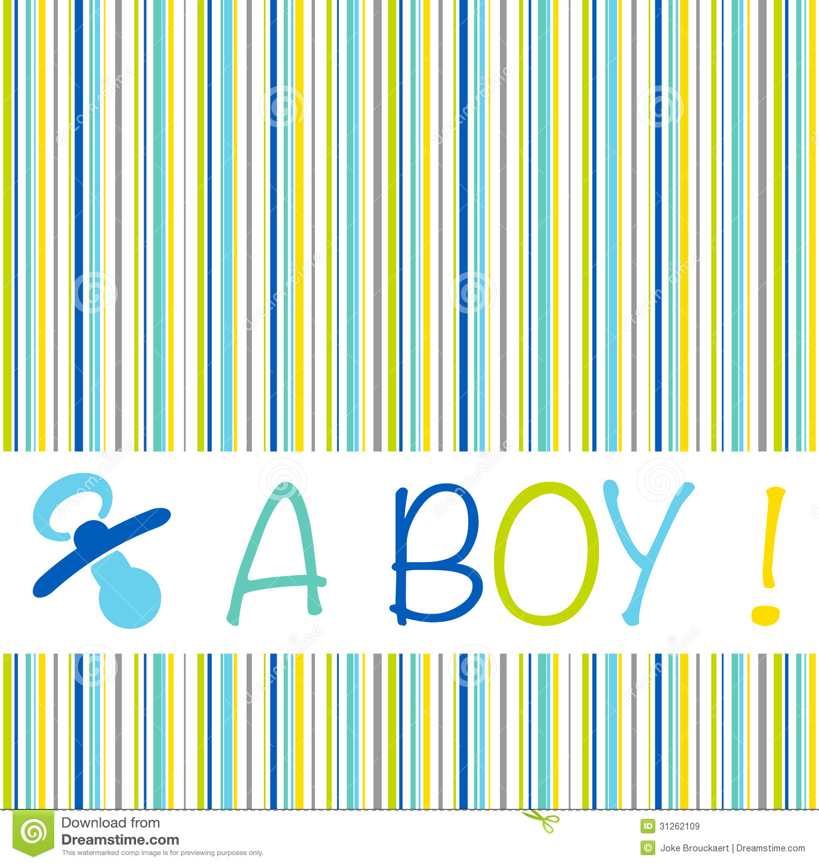 Baby Newborn Birth Announcement Card Boy With Striped