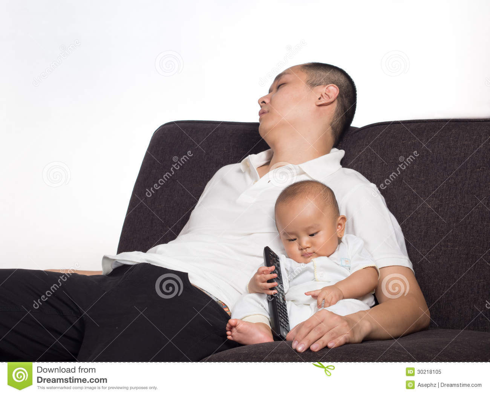 Sleeping Dad While Taking Care Of Baby Stock Image - Image ...