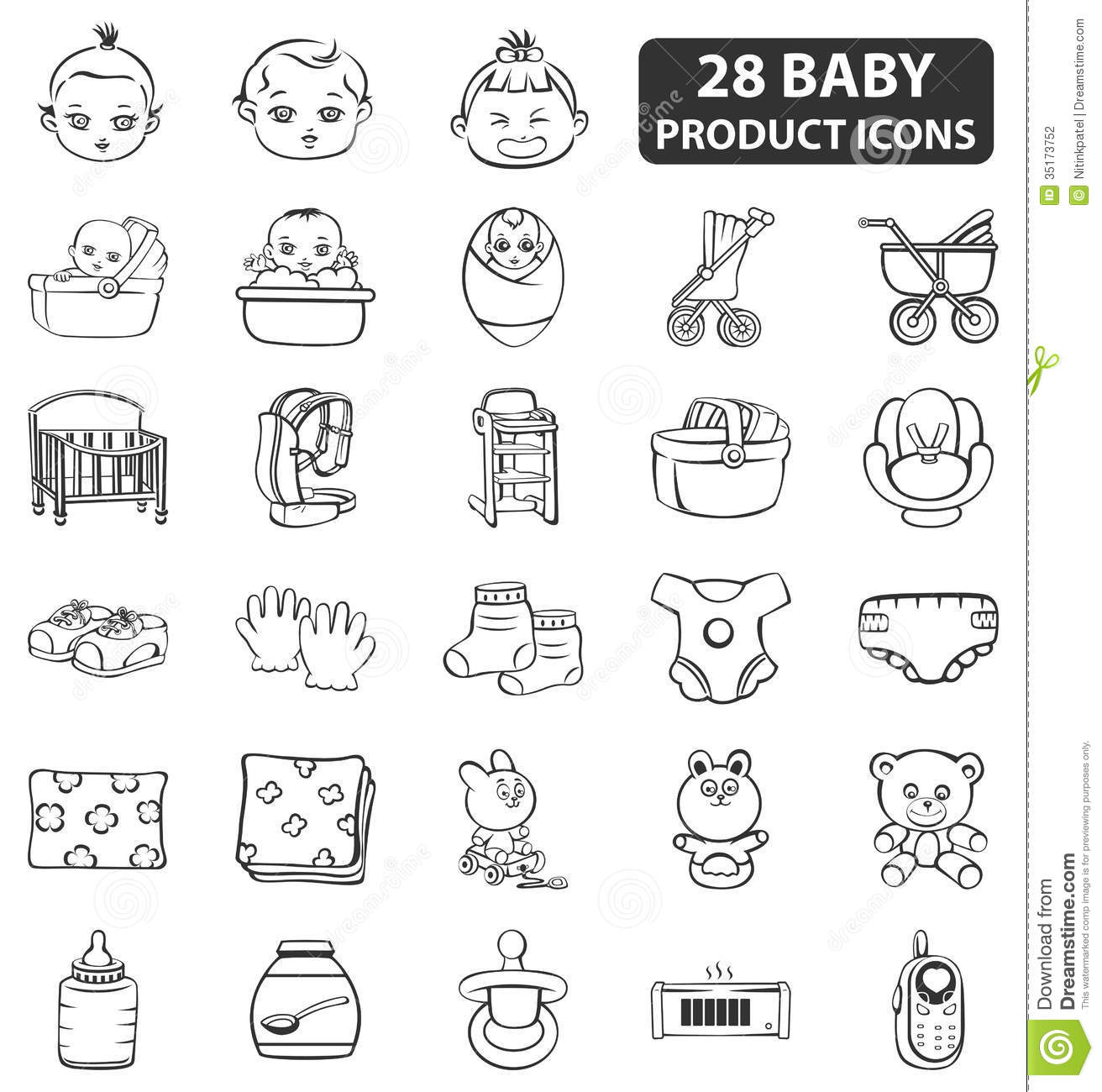 Baby Product Icons Stock Illustration Illustration Of