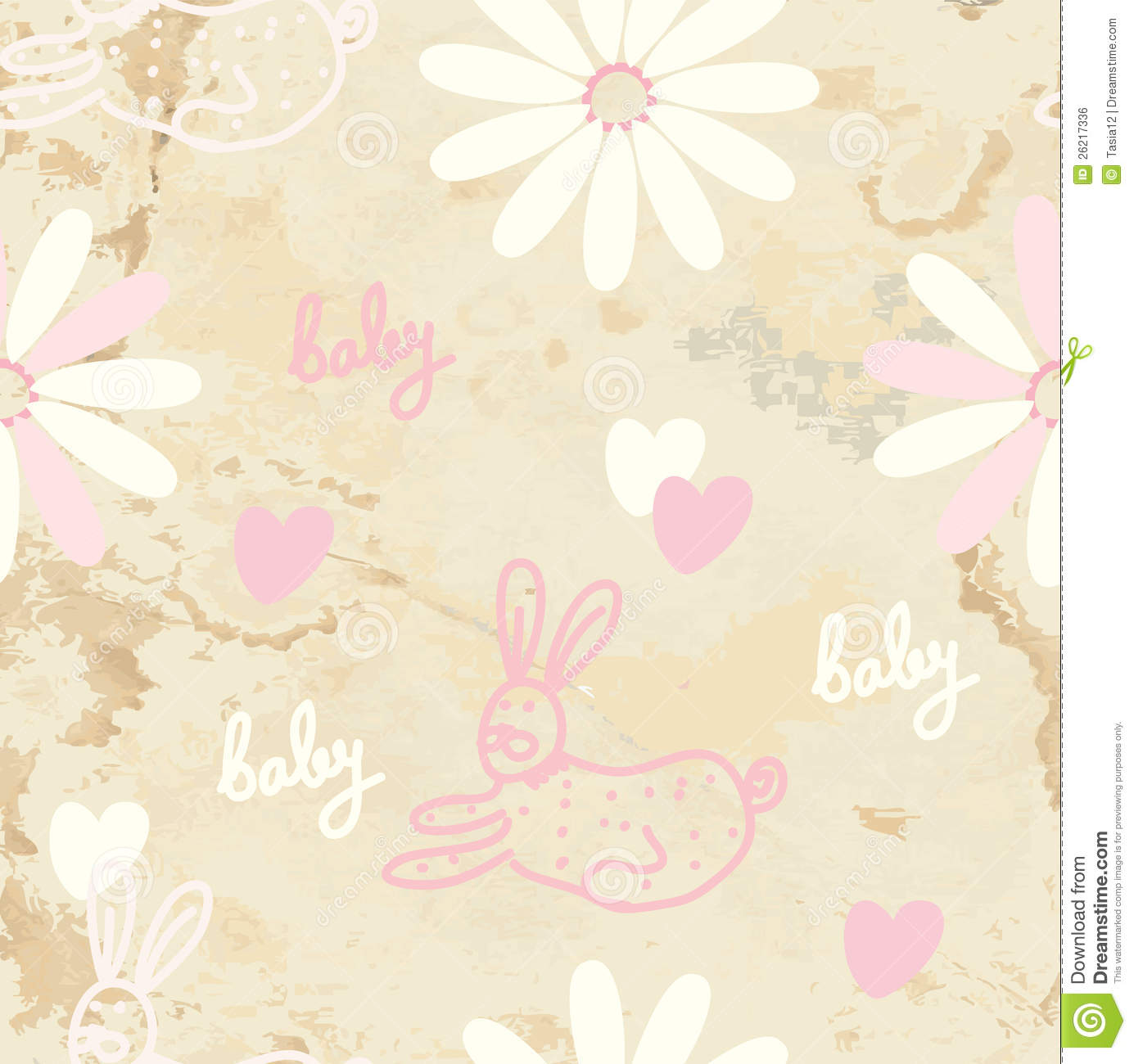 Cute Stylish Child Girl Wallpaper Baby Retro Seamless Background With Paper Royalty Free