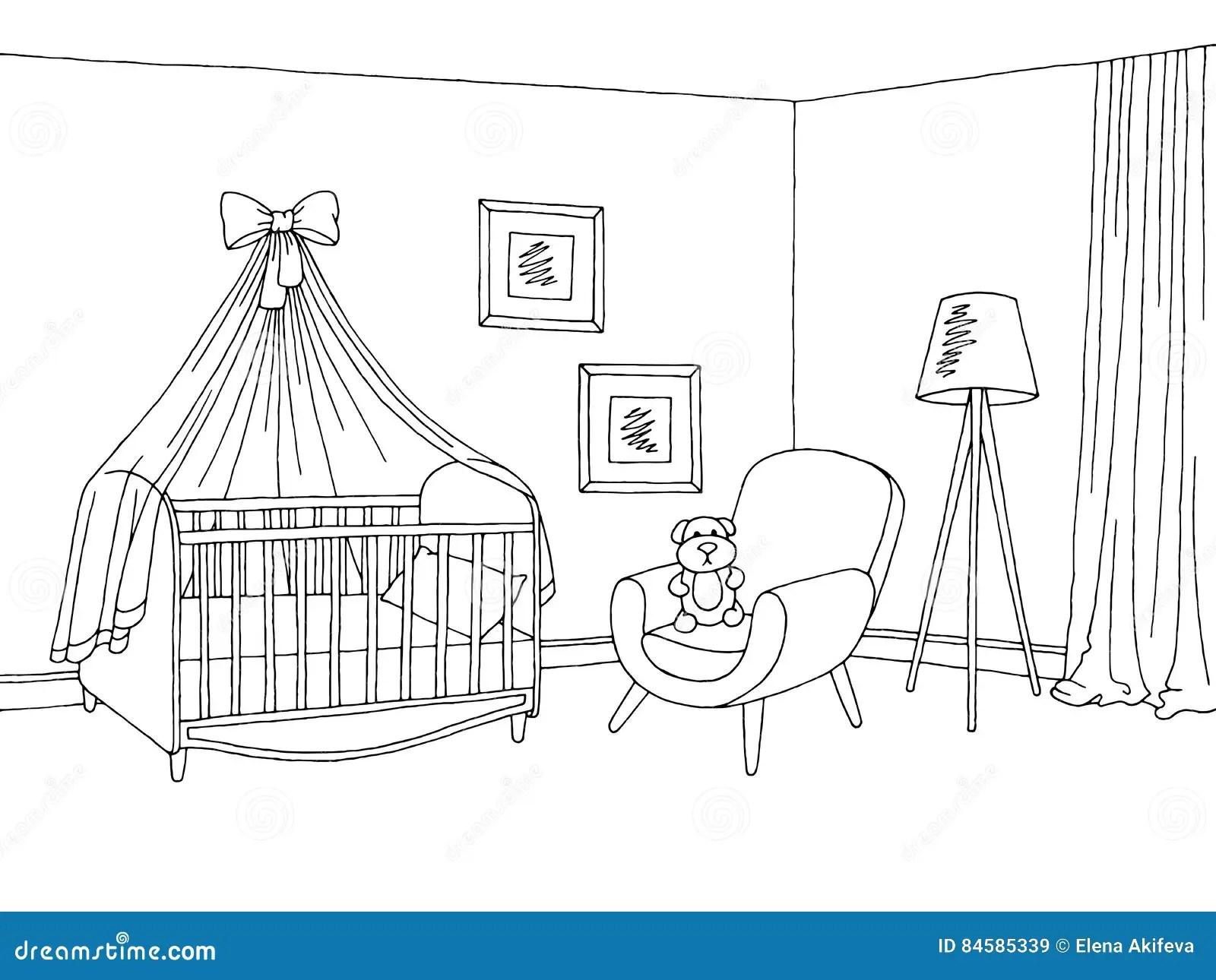 Baby Room Graphic Black White Interior Sketch Illustration