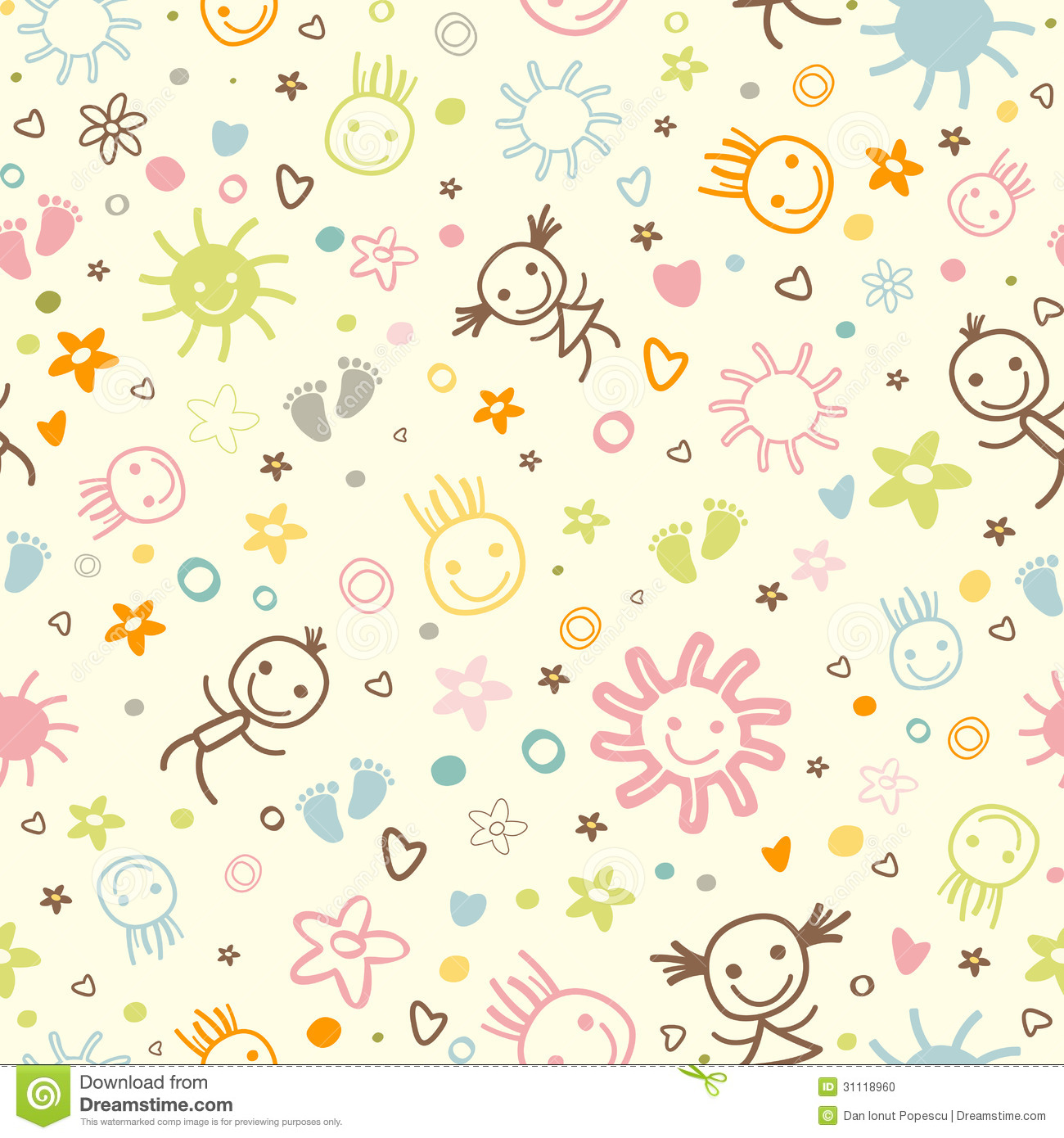 Cute Happy Faces Wallpaper Baby Seamless Pattern Stock Photo Image 31118960