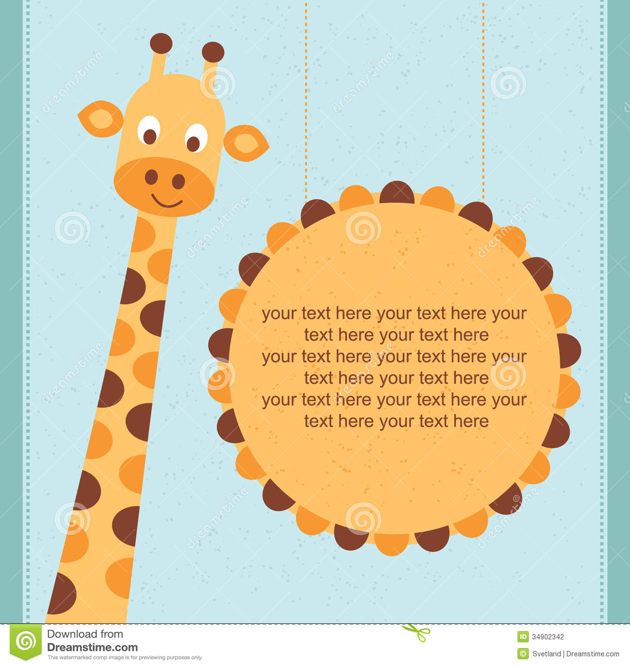 Baby Shower Card Birthday Card With Giraffe Stock