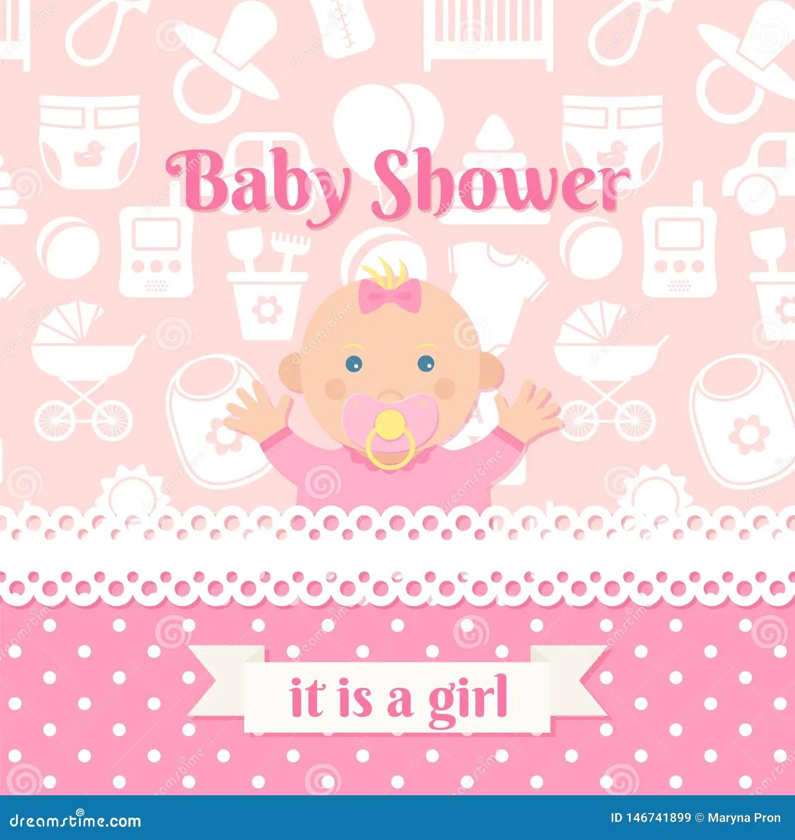 Baby birth background bird infant icons cartoon design. Baby Shower Card Design Vector Illustration Birthday Template Invite Stock Vector Illustration Of Border Frame 146741899