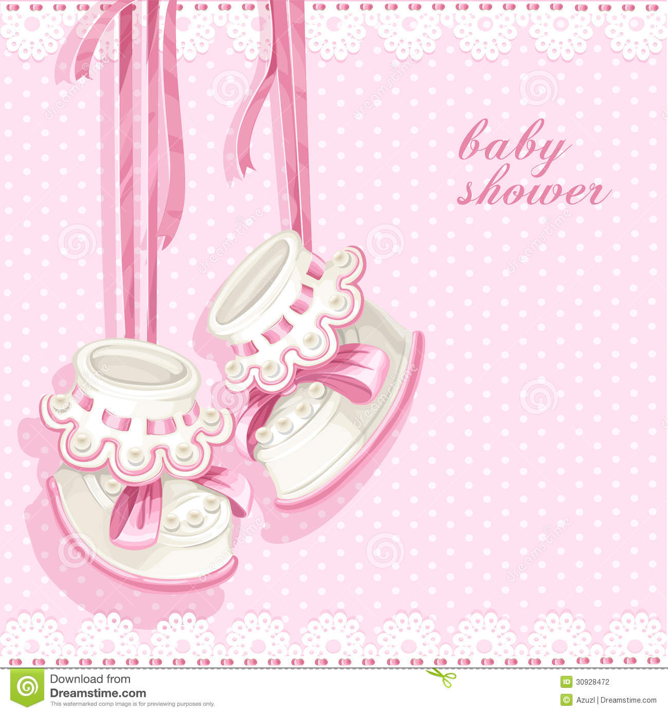 Baby Shower Card With Pink Booties Stock Photography