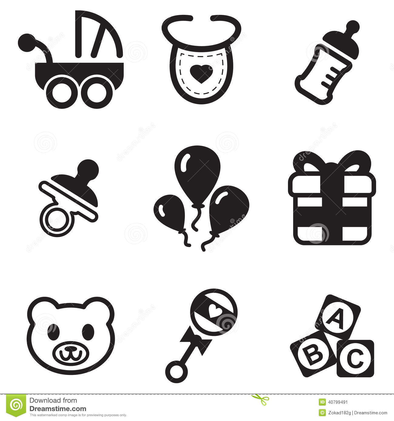 Baby Shower Icons Stock Vector Illustration Of Newborn