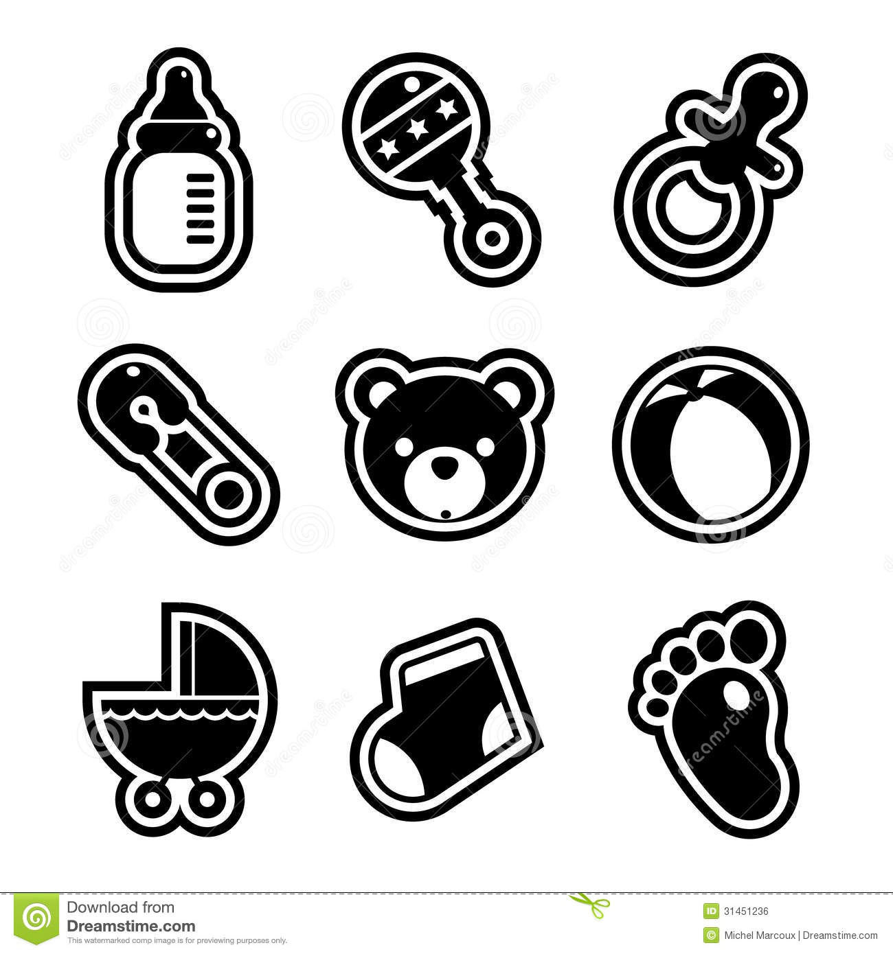 Baby Shower Icons Stock Vector Illustration Of White