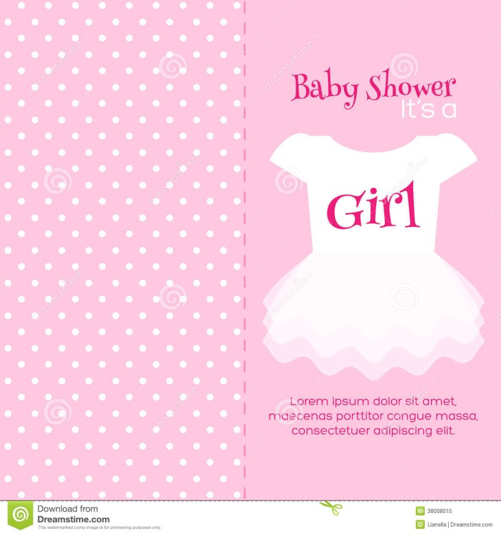 Baby Girl Shower invitation card. Pink template