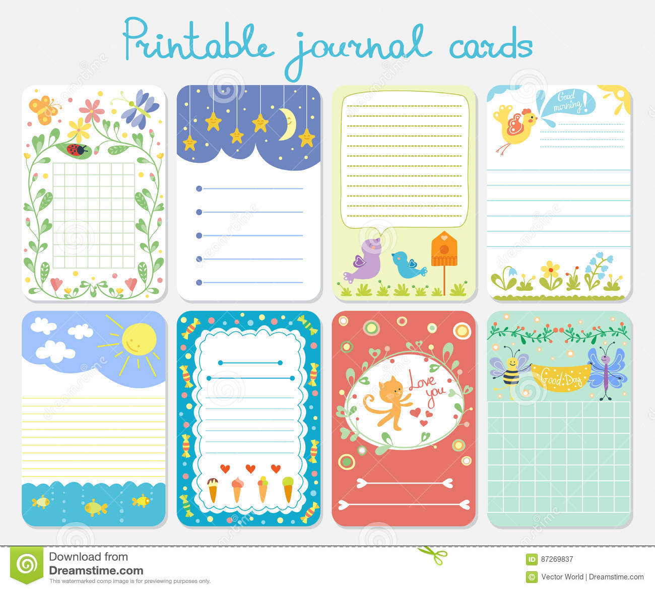 Baby Shower Invitation Vector Set Journal Printbook Card