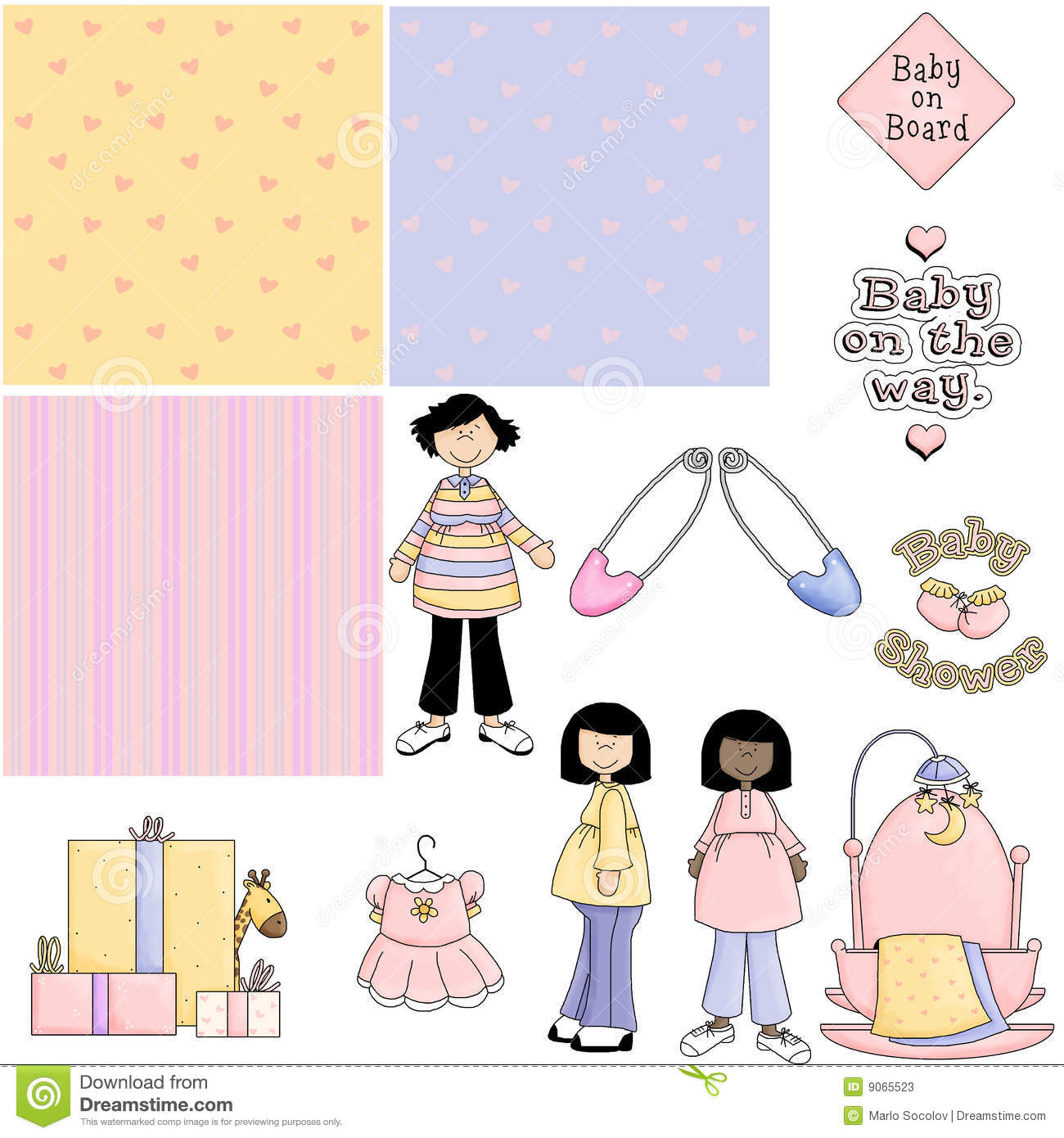 Baby Shower Pink 2 Clipart Stock Illustration