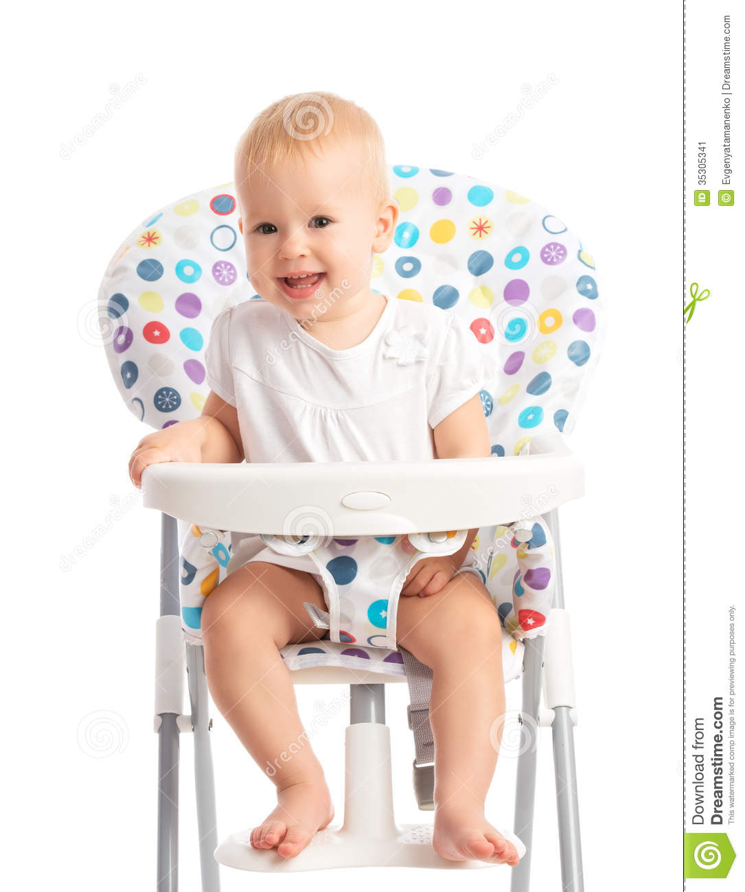 High Chair For Baby Boy Baby Sitting In A High Chair Isolated Stock Image Image