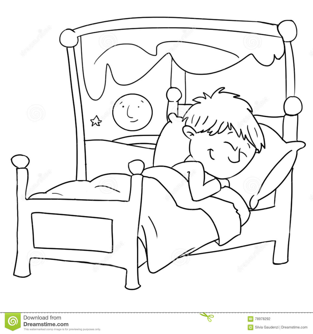 The Baby Is Sleeping In Her Bed Chine Drawn By Color Stock