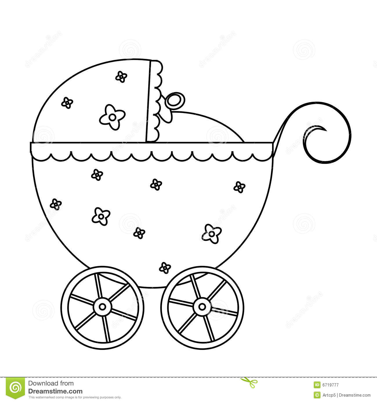 Baby Stroller Stock Vector Illustration Of Line Pattern