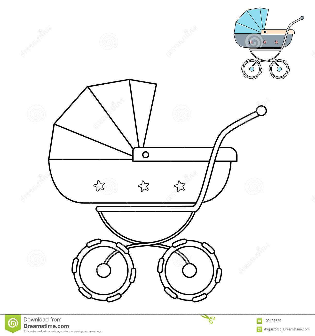 Baby Stroller Black And White Line Drawing Coloring Book