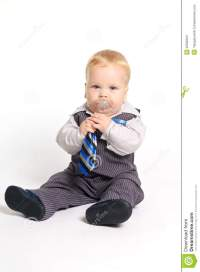 Baby in suit with tie stock image. Image of eyes, chubby ...