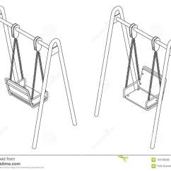 Swing Chair Drawing Loll Designs Adirondack Baby With Black And White Vector Outline Illustration In Isometric View