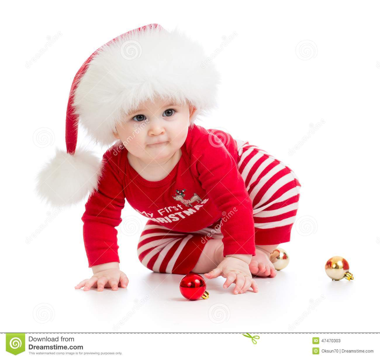 Baby Weared Santa Clothes Isolated Stock Photo Image