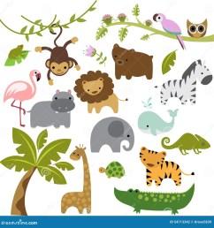 a set of cute baby zoo animal vectors [ 1300 x 1385 Pixel ]