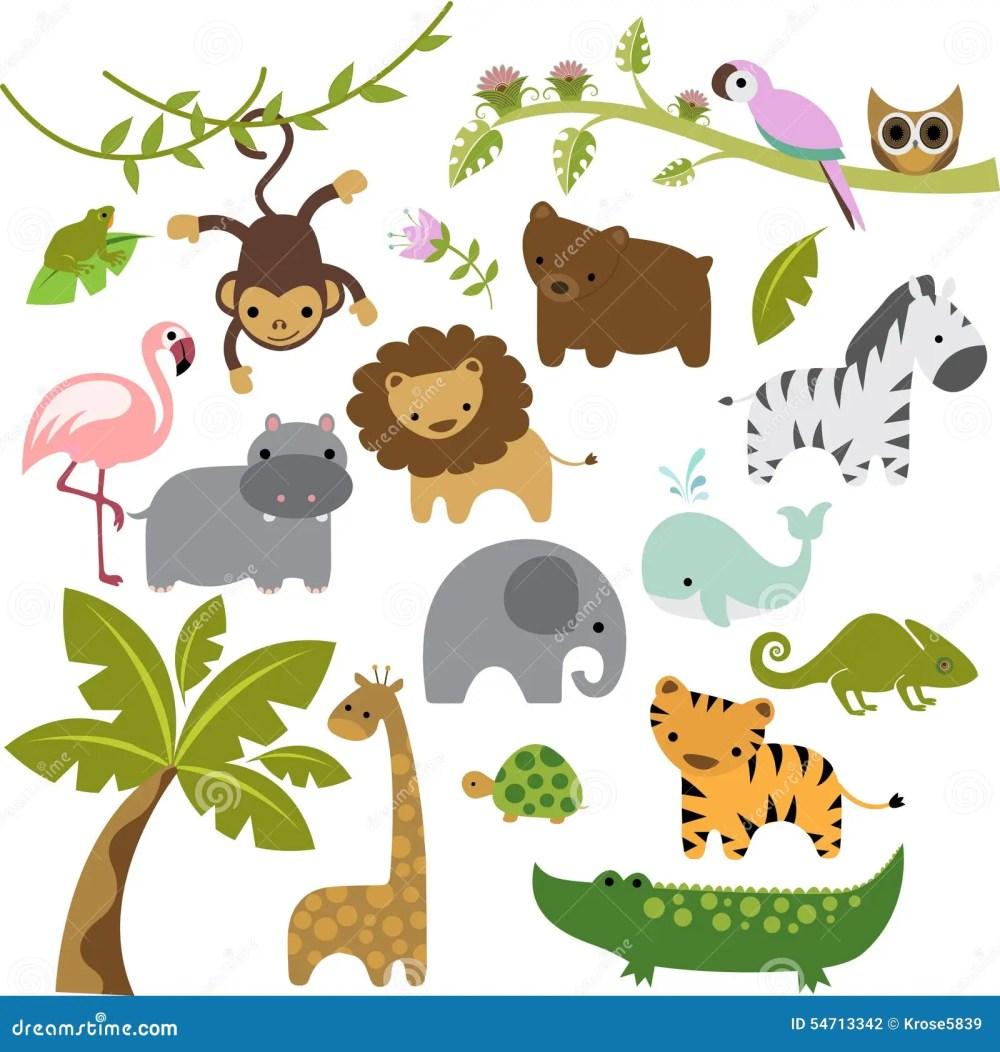 medium resolution of a set of cute baby zoo animal vectors