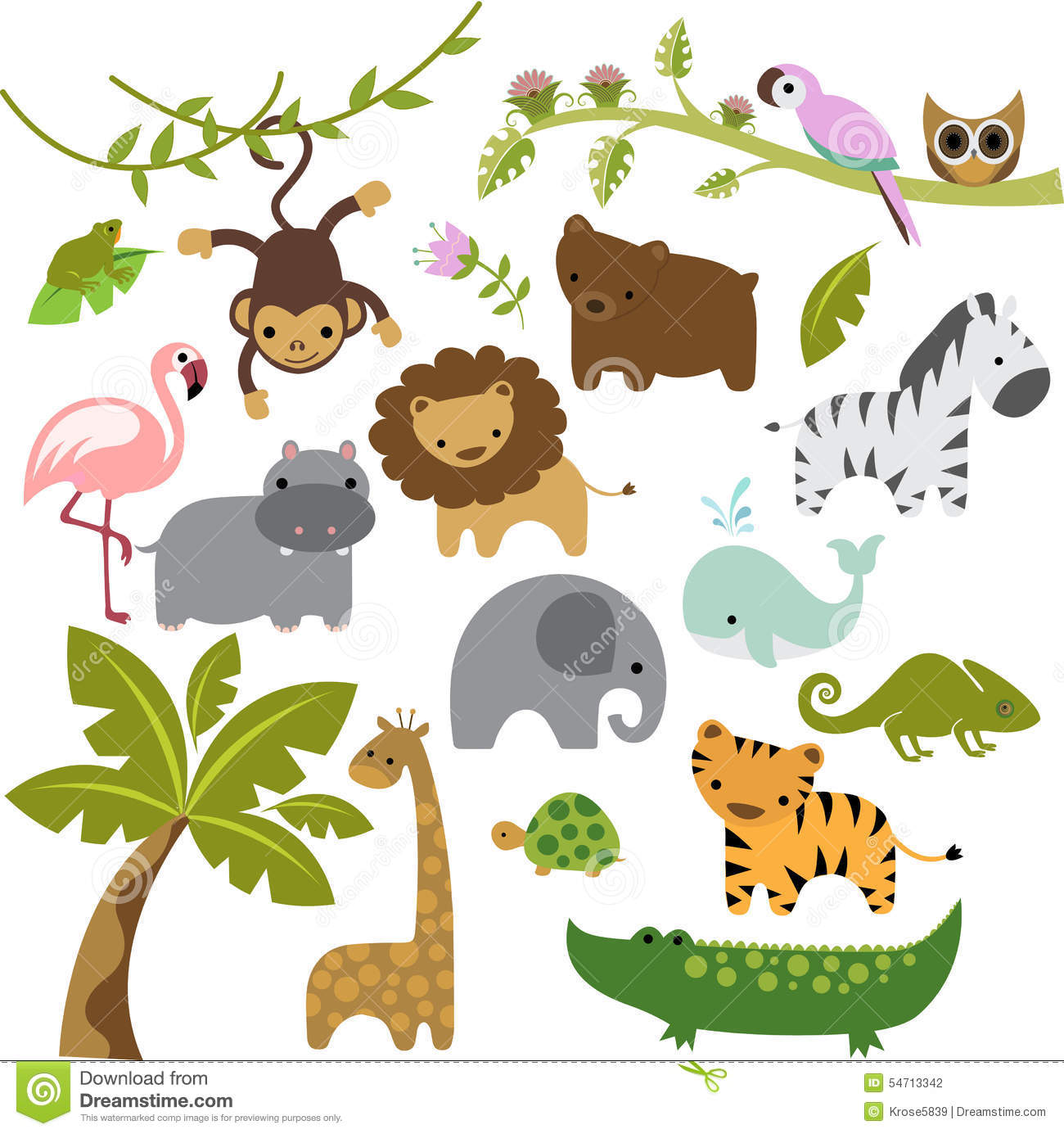 hight resolution of a set of cute baby zoo animal vectors