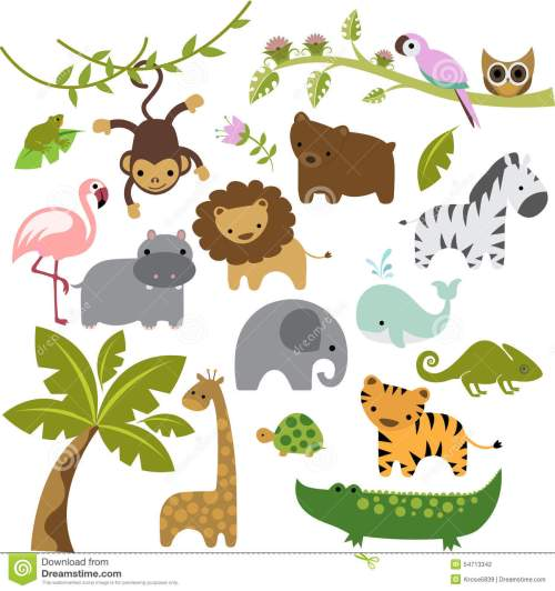 small resolution of a set of cute baby zoo animal vectors
