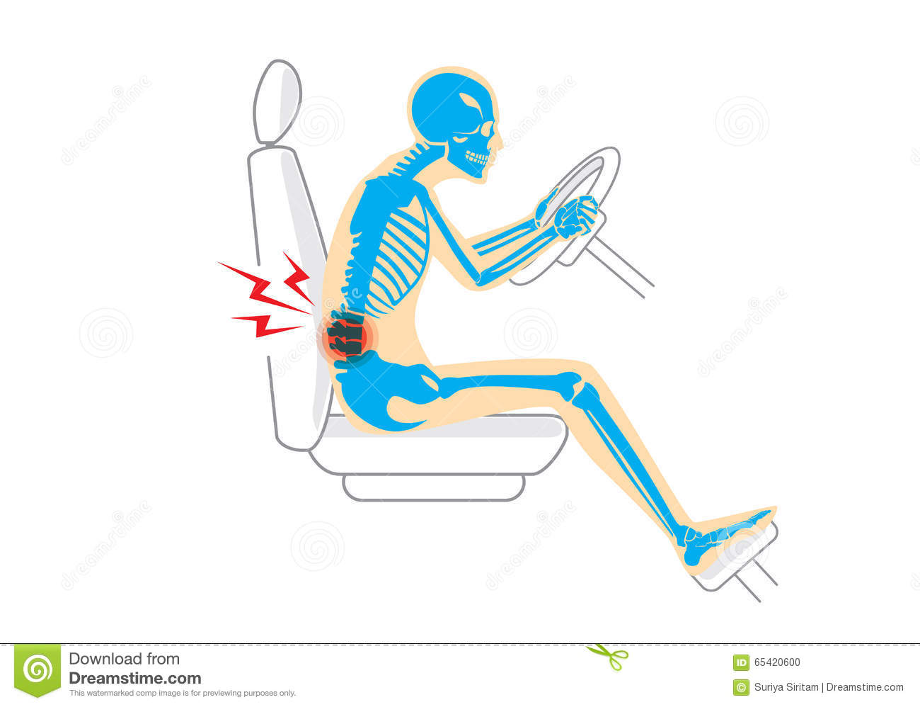 chair posture back pain tub covers spotlight because wrong in driving stock vector