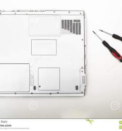 back side of a modern laptop computer with precision screwdriver [ 1300 x 957 Pixel ]