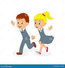 School.boy And Girl Running Cartoon Vector