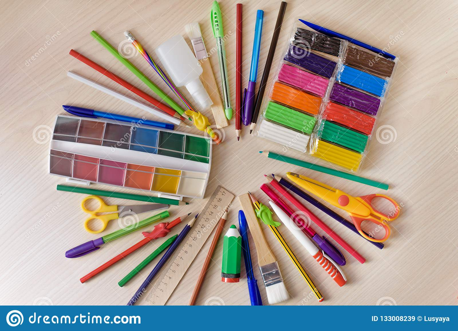 Back To School Concept Writing Supplies On The Table