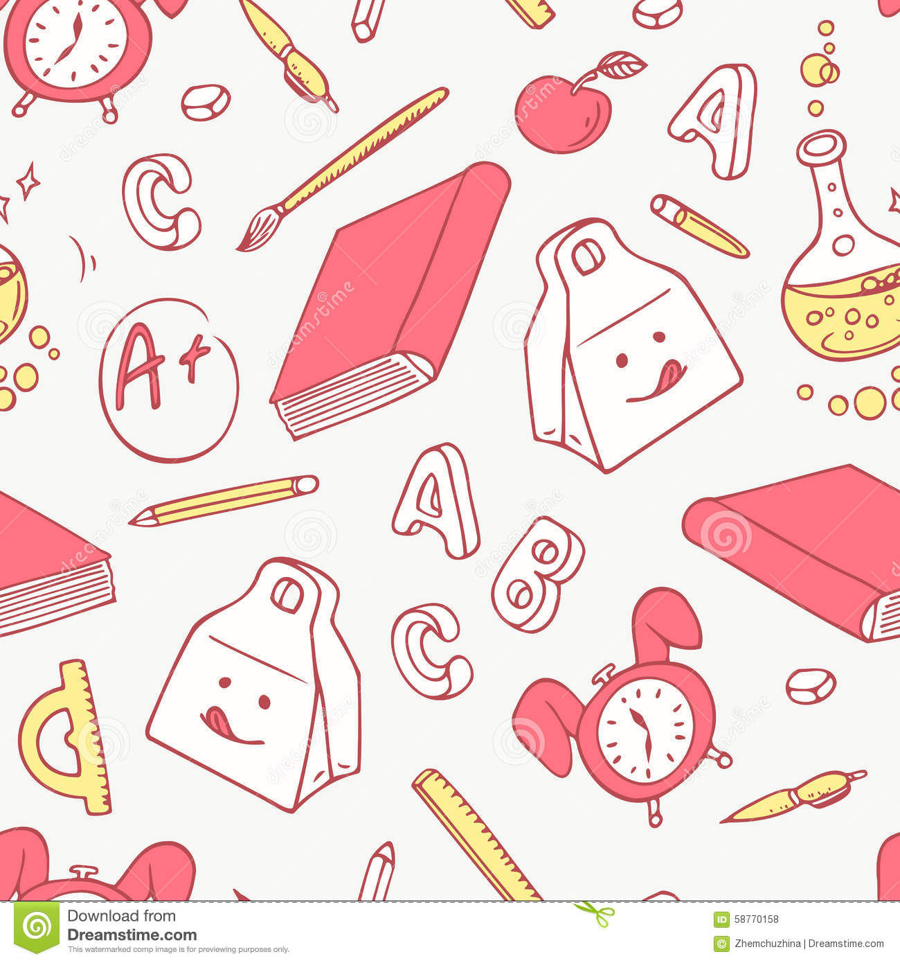 Back To School Doodle Objects Background Hand Drawn