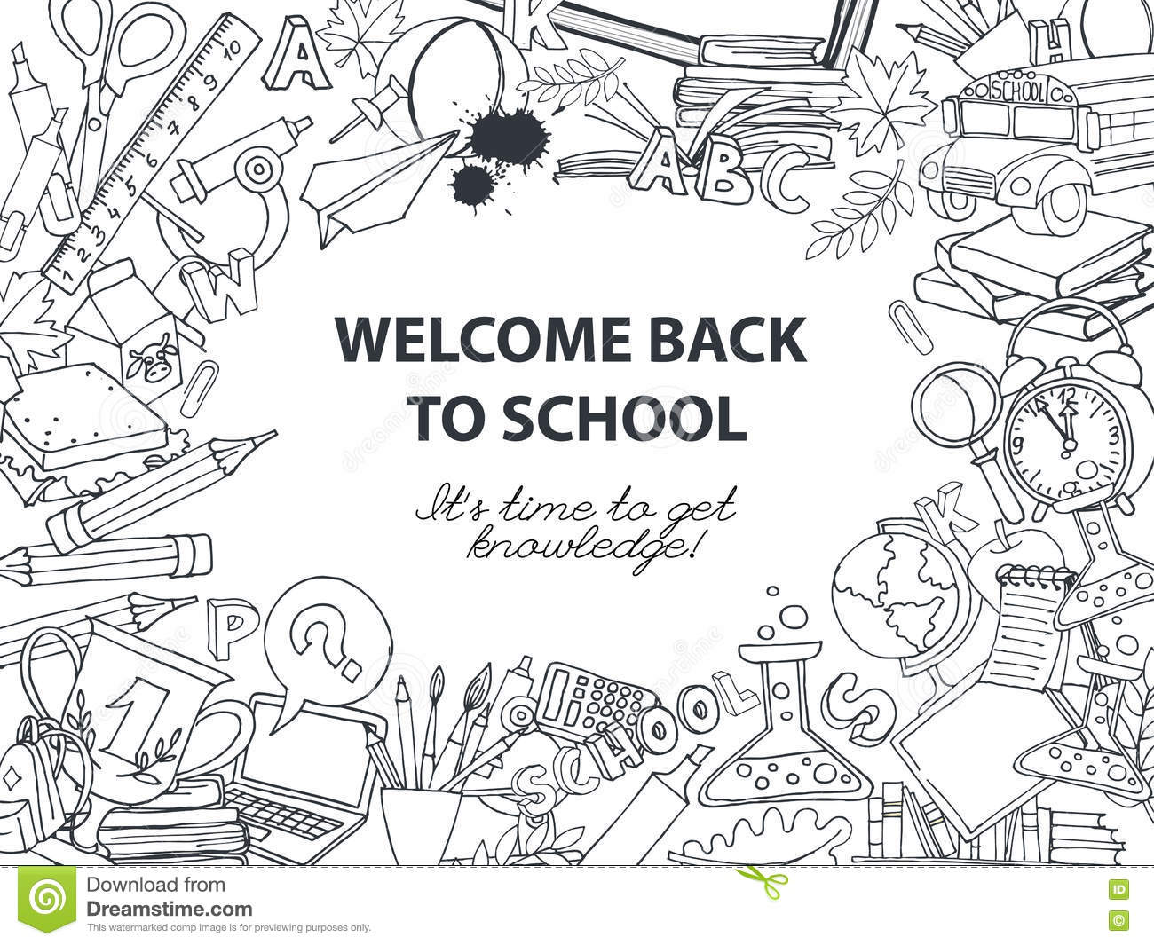 Back To School Frame Border Pattern Of Kids Doodles With