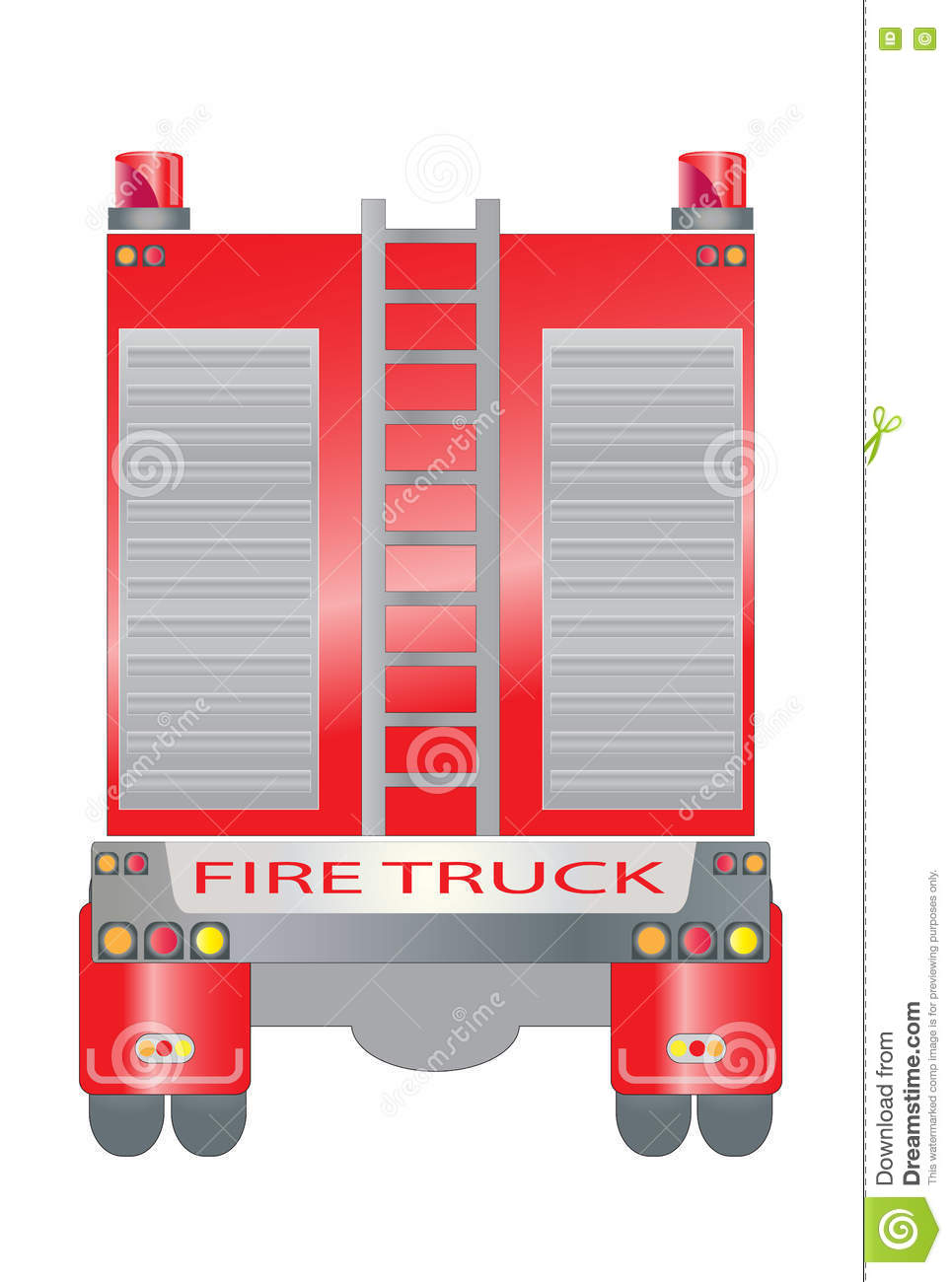 hight resolution of back view of fire truck