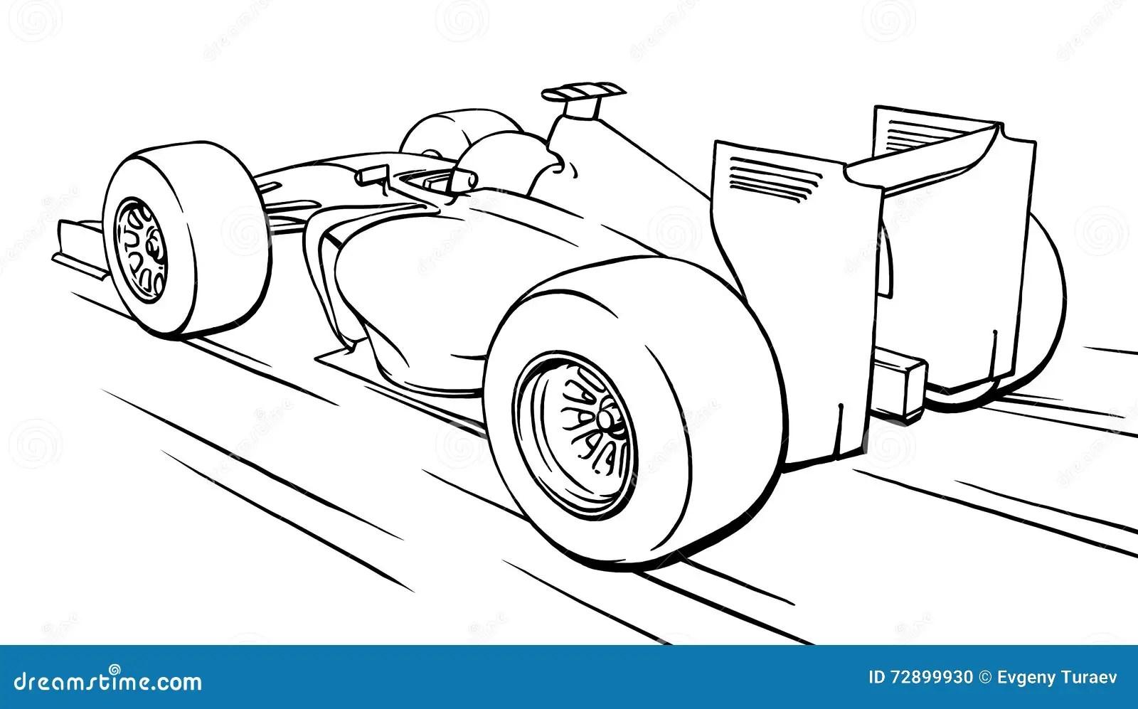 Back View Funny Fast Cartoon Formula Race Car Illustration