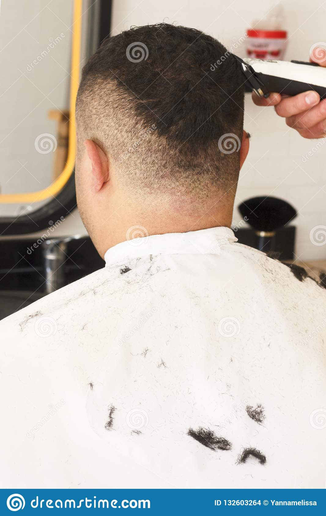 Back View Of Man Getting Short Hair Trimming At Barber ...