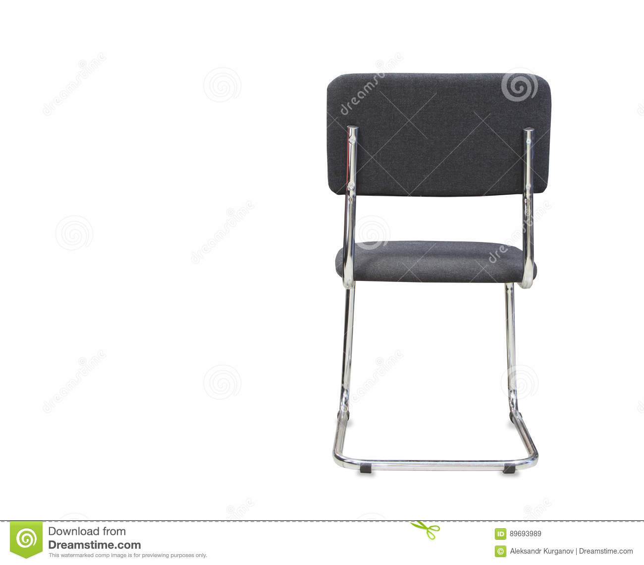 office chair kota kinabalu dark green covers back view of modern from gray cloth stock image