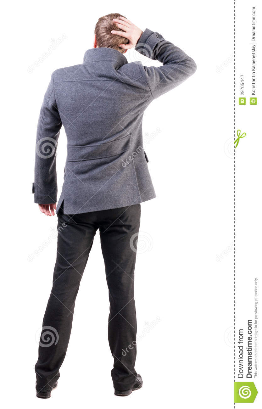 Back View Of Thinking Business Man In Coat Stock Image