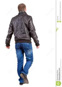 Back View Of Walking Handsome Man In Jacket. Royalty Free