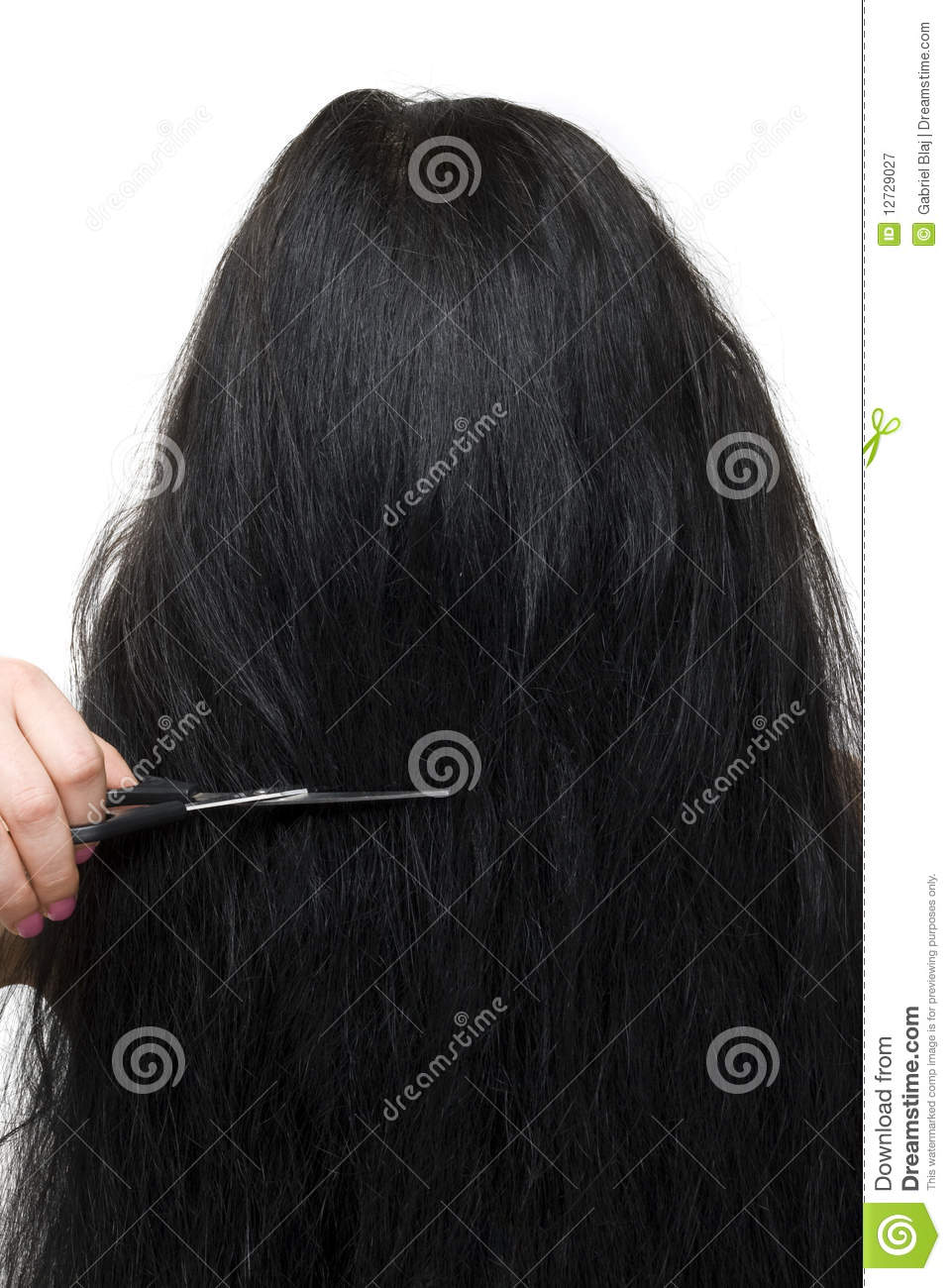 Back Of Woman Long Hair And Scissors Royalty Free Stock