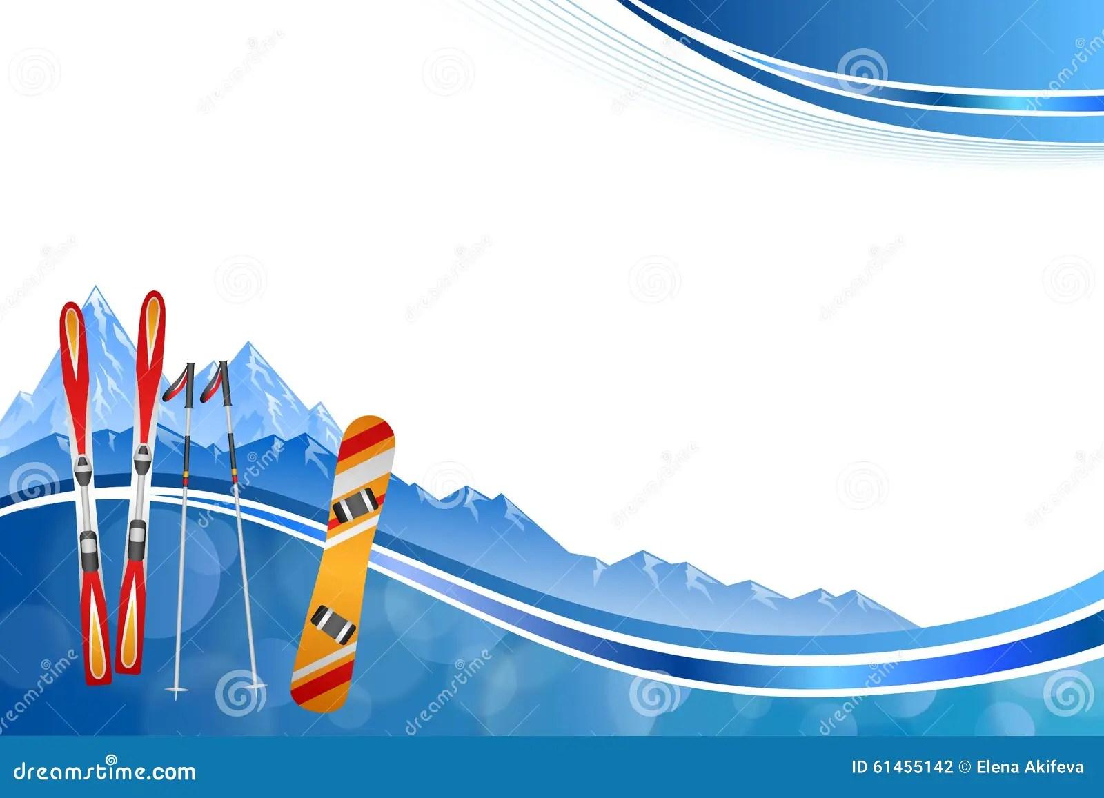 Background Abstract Blue Ski Snowboard Red Orange Winter