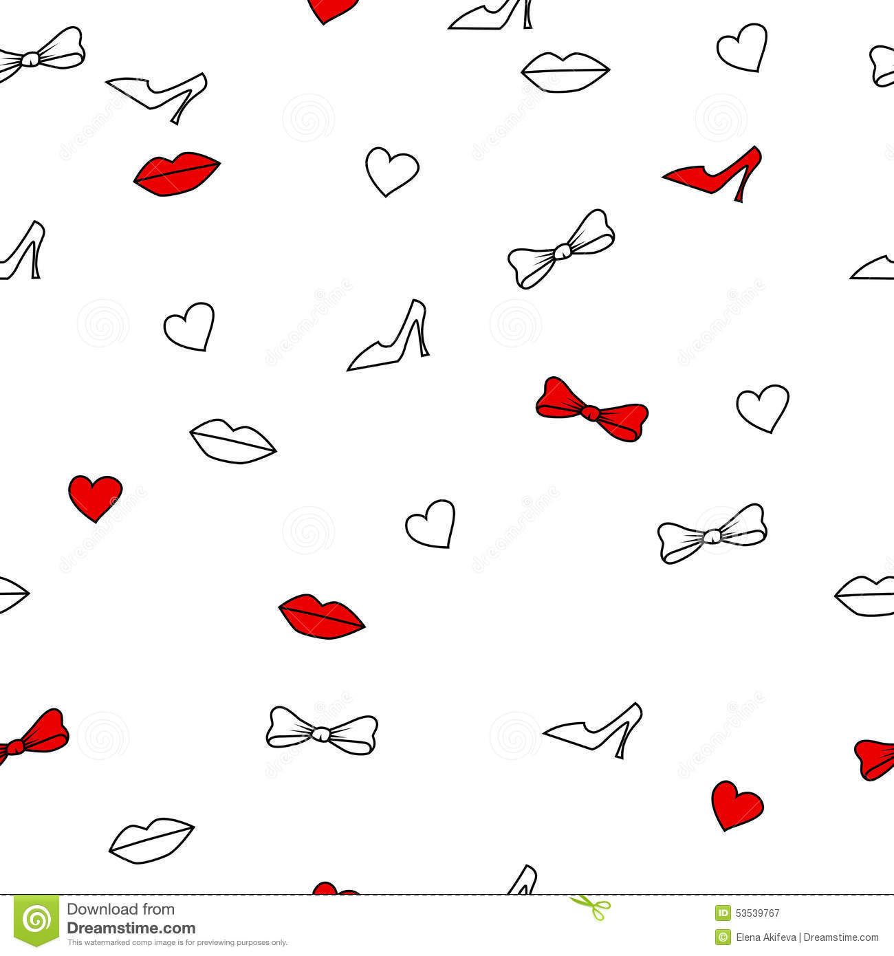 Background Abstract Seamless Lips Shoes Hearts Bows White