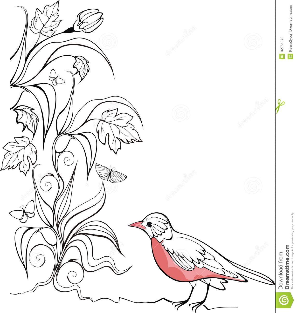 Background With Bird And Garden Plants Royalty Free Stock