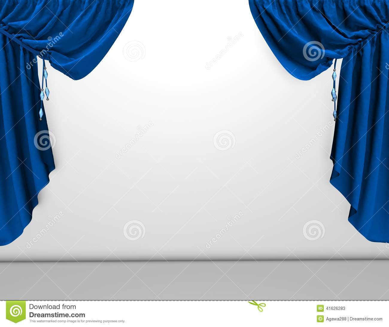 Background With Blue Velvet Curtains And Empty White Wall
