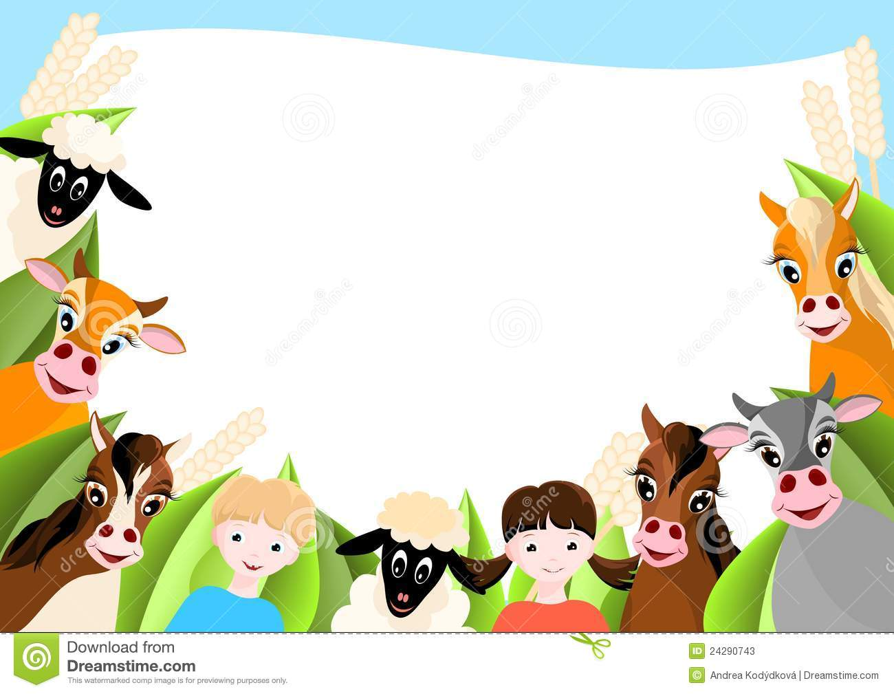 Background With Children And Happy Farm Animals Stock