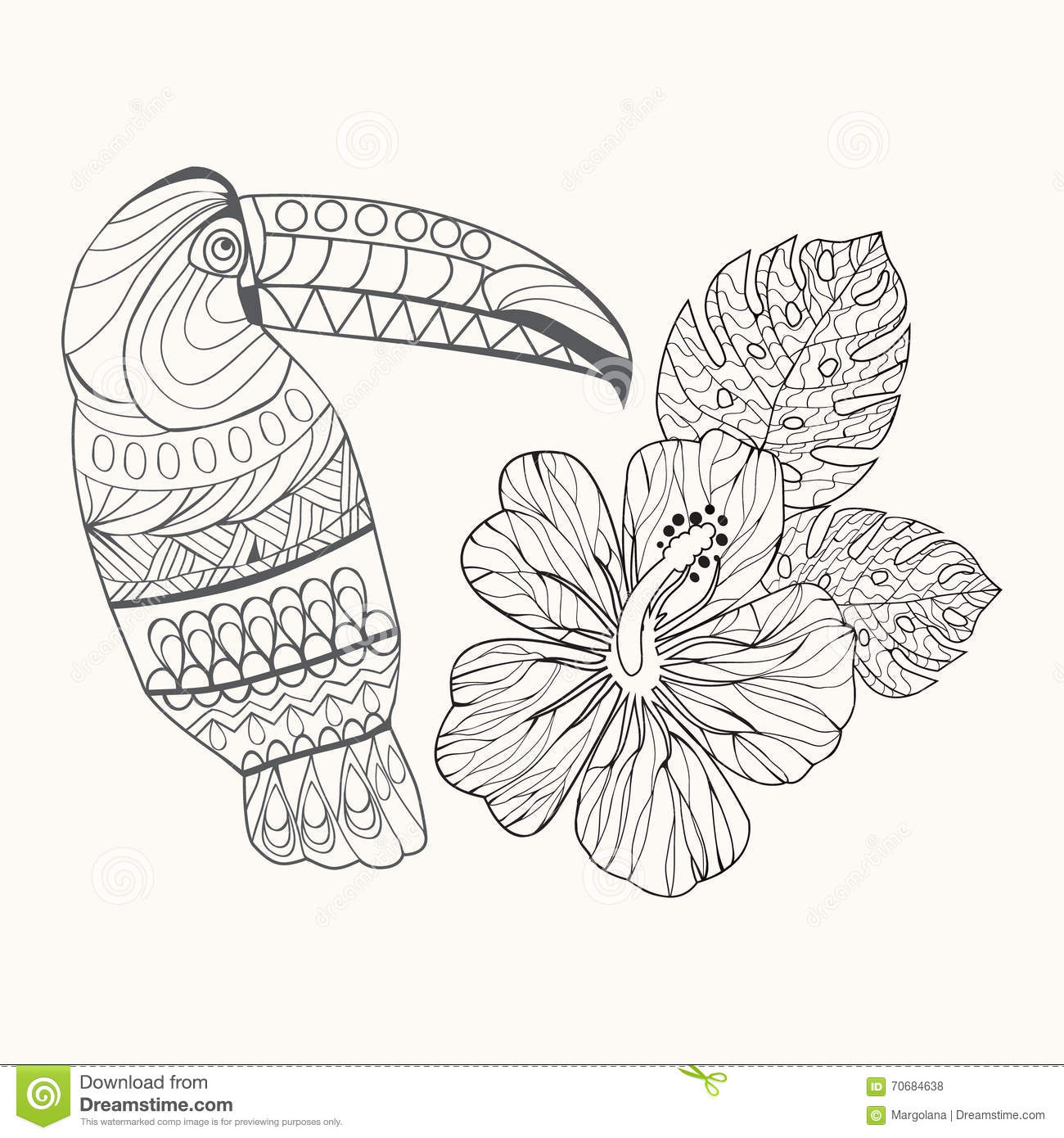Background Hibiscus Flower And Ltoucan Stock Vector