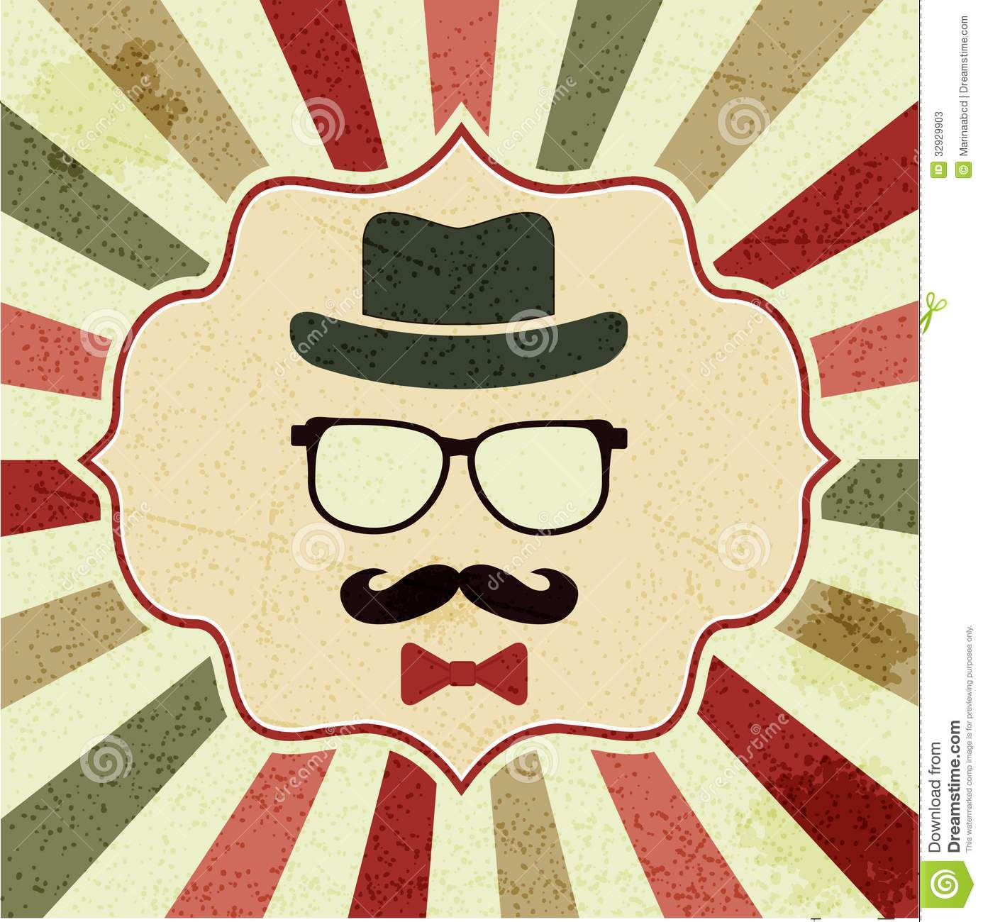 Background With Hipsters Hat Glasses Moustache Stock