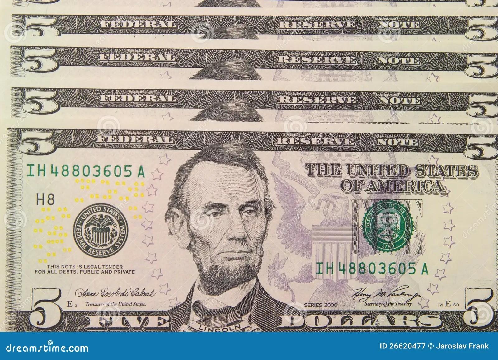 Background With Money Us 5 Dollar Bills Stock Image