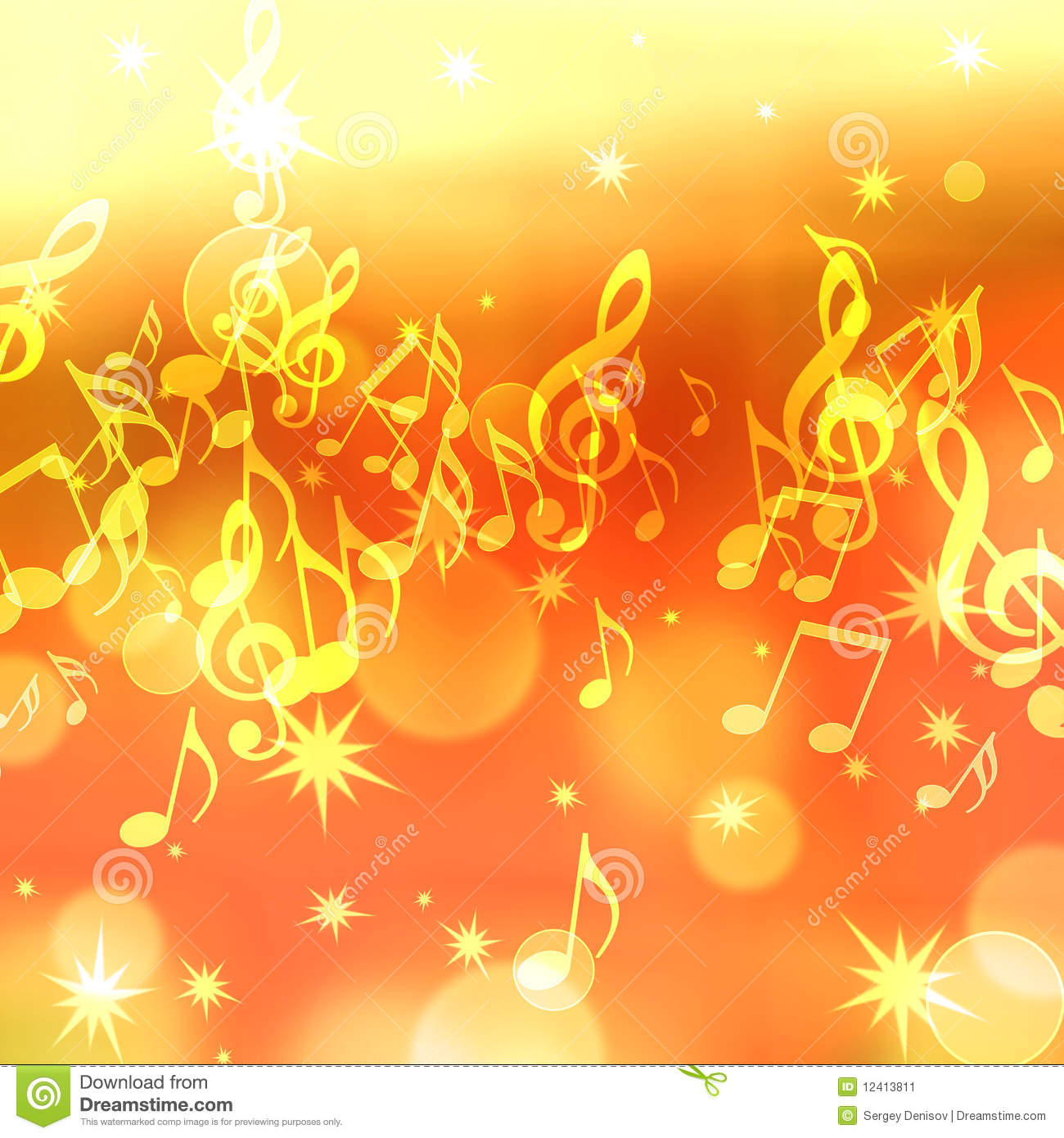Background With Music Notes And Stars Stock Image  Image