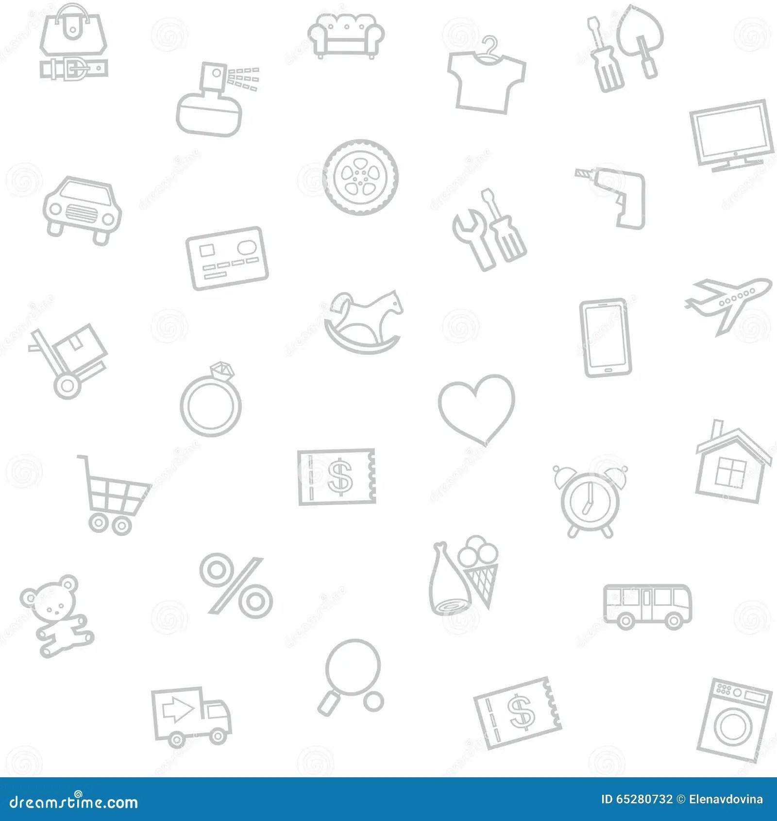 Household Goods Home Background Seamless Gray Cartoon
