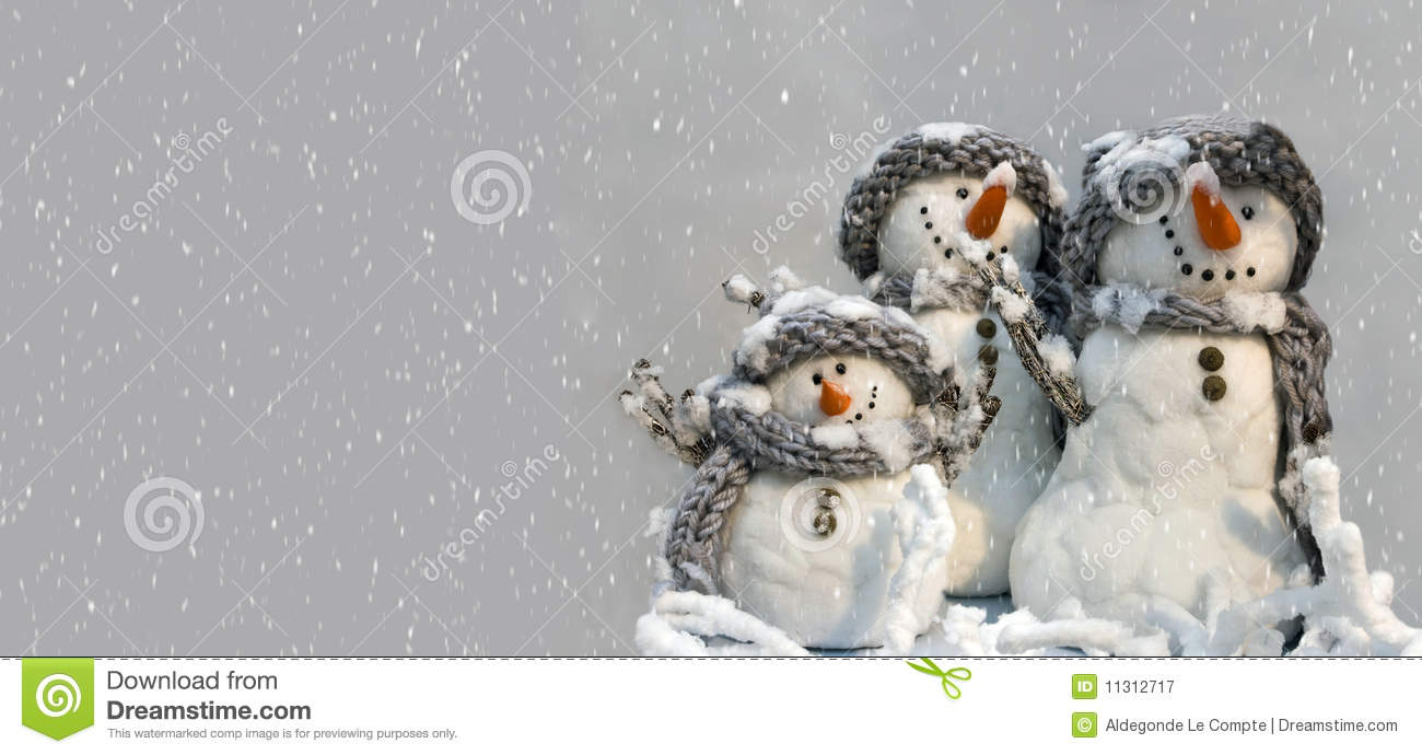 Background For Xmas Card Of Group Of Three Snowmen Stock
