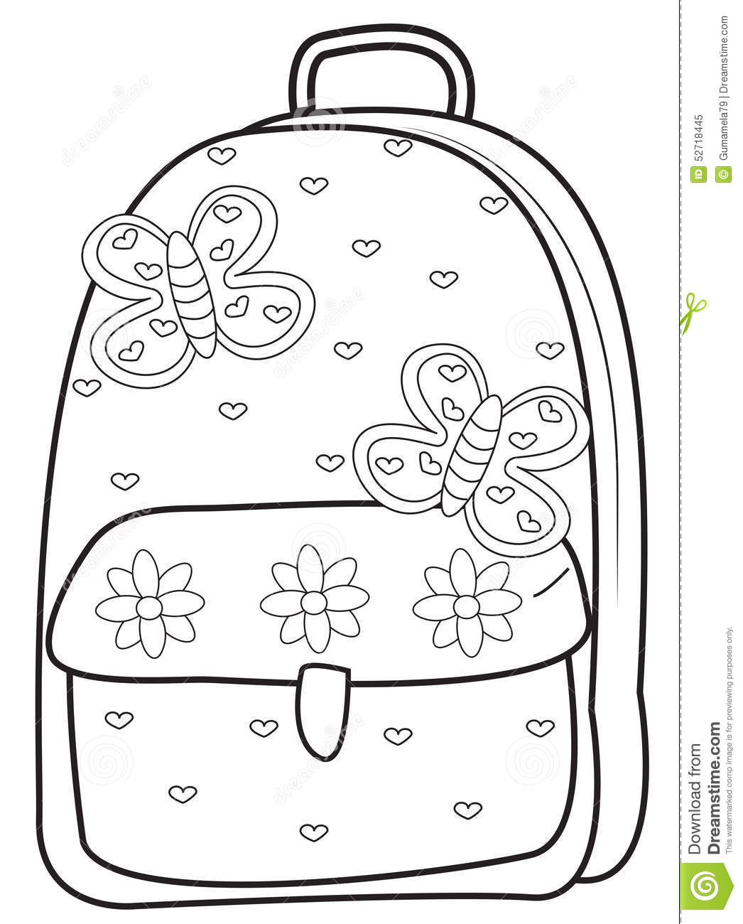Backpack Coloring Page Stock Illustration Illustration Of Clip
